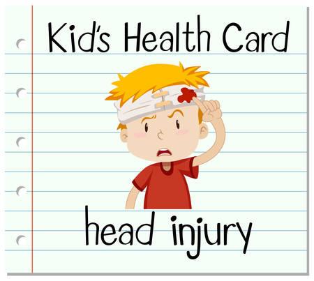 human head: Health card with boy having head injury illustration
