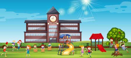 niño escuela: Los niños que juegan en el patio de la escuela ilustración Vectores
