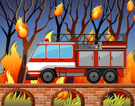 Fire truck and the wild fire at the forest  illustration
