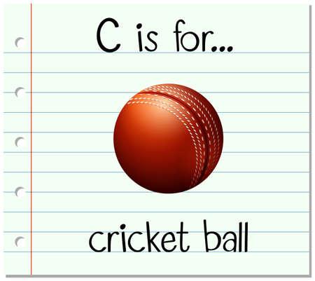 cricket ball: Flashcard letter C is for cricket ball illustration Illustration