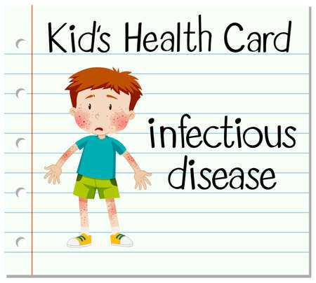 infectious: Health card with boy having infectious disease illustration Illustration