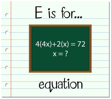 equation: Flashcard letter E is for equation illustration