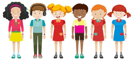small group of objects: Boys and girls standing illustration Illustration