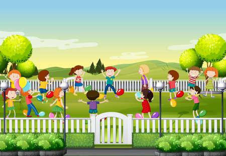 공원 그림 풍선 게임을하는 아이들 일러스트