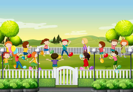 children art: Children playing balloon game in the park illustration Illustration