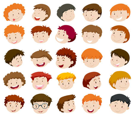 small group of objects: Boys head with happy face illustration Illustration