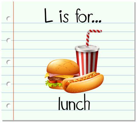 softdrink: Flashcard letter L is for lunch illustration
