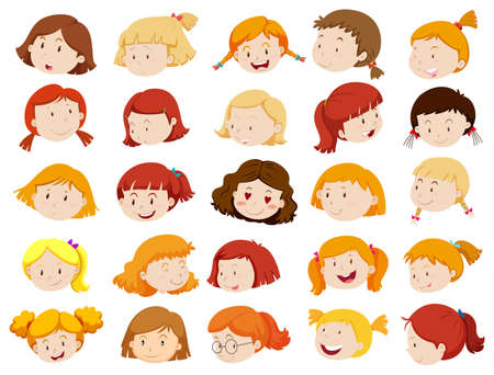 sad little girl: Faces of girls in different emotions illustration