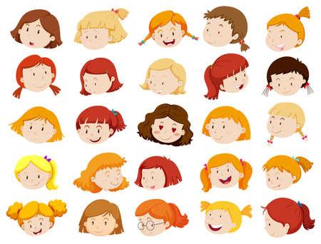 caras felices: Las caras de las niñas en diferentes emociones ilustración