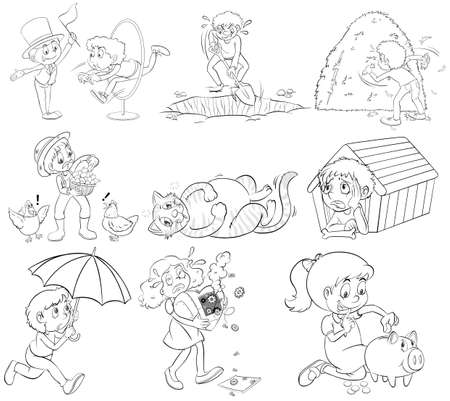digging: Outline people doing different activities illustration