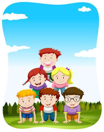 piramide humana: Los ni�os que juegan pir�mide humana en la ilustraci�n parque