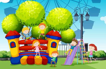 niños jugando en el parque: Los niños que juegan en el parque de la ilustración Vectores