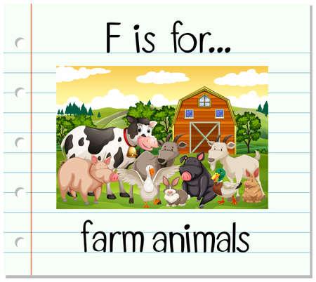 lettre de Flashcard F est pour les animaux de ferme illustration