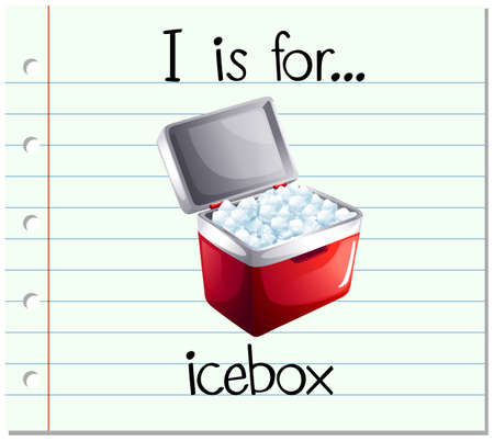 icebox: Flashcard letter I is icebox illustration Illustration