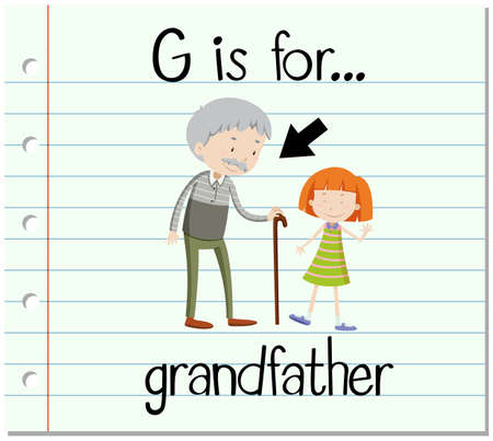 old english letter alphabet: Flashcard letter G is for grandfather illustration