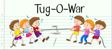 tug war: Children playing tug of war illustration
