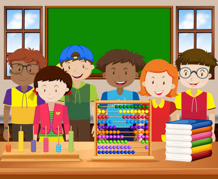 schoolmate: Children with happy face in the classroom illustration Illustration