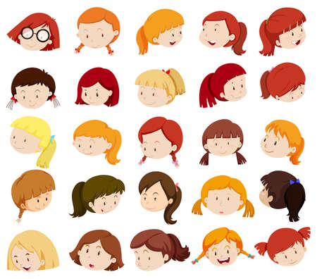 girl face: Girl heads with facial expressions illustration Illustration