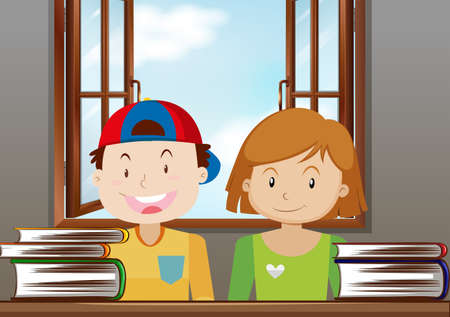 Boy and girl reading in the classroom illustration