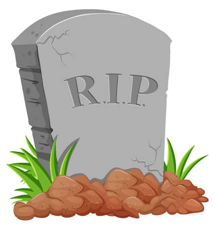 grave stone: Grave stone on the ground illustration Illustration