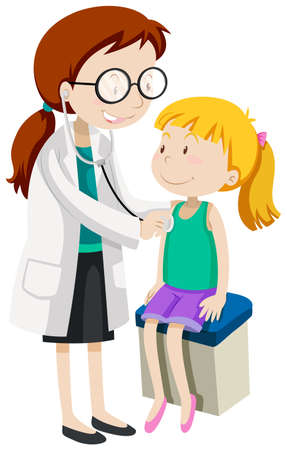 kid doctor: Doctor checking up little girl health illustration