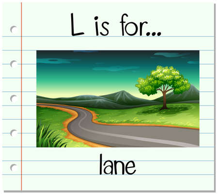 Flashcard letter L is for lane illustration