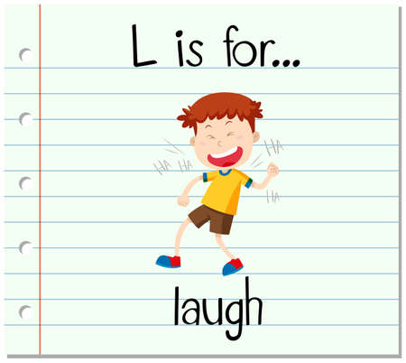 to laugh: flashcard letter L is for laugh illustration