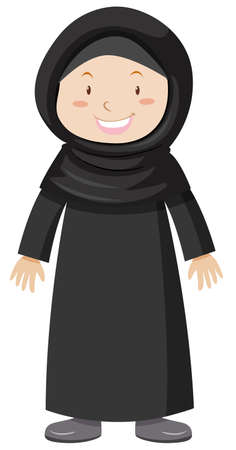 Muslim girl in black dress illustration