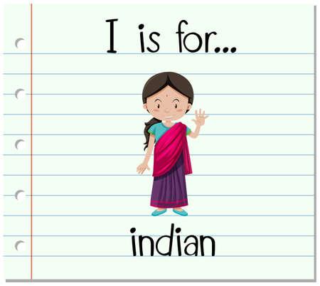 flash card: Flashcard letter I is for Indian illustration