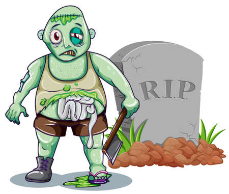 dying: Green zombie with axe at the gravestone illustration