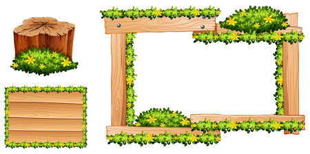 log on: Wooden frame and log with yellow flowers illustration Illustration