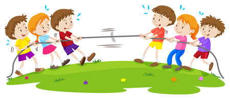 children art: Kids playing tug of war at the park illustration Illustration