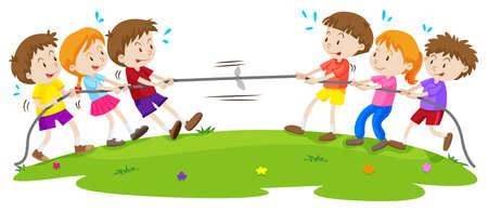 chicos: Niños jugando tira y afloja en el parque de la ilustración