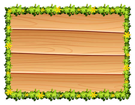wooden board: Wooden board with flowers decoration illustration Illustration