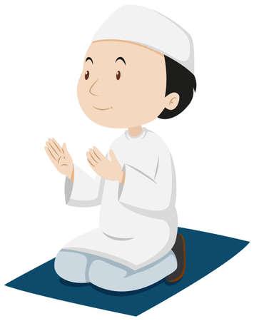 Muslim man praying on the mat illustration