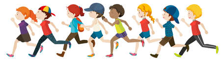 Boys and girls running in group illustration