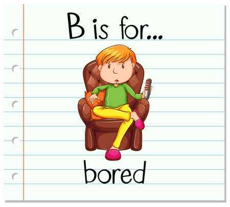 writing chair: Flashcard letter B is for bored illustration Illustration