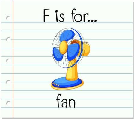 Flashcard letter F is for fan illustration