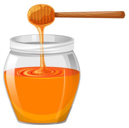 nectars: Honey in glass jar illustration