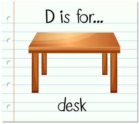 desk: Flashcard letter D is for desk illustration Illustration