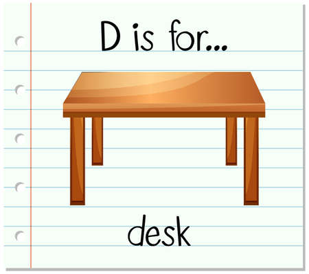 Flashcard letter D is for desk illustration Illustration