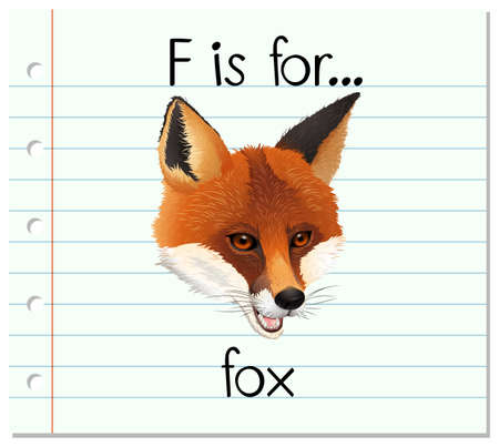 Flashcard letter F is for fox illustration