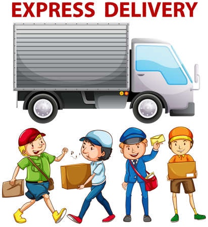 grownup: People working for express delivery illustration