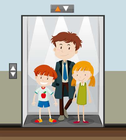 clipart: Las personas que usan ascensor yendo hacia arriba la ilustración