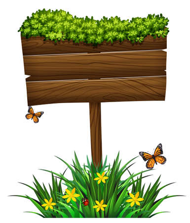 bush: Wooden sign and green bush illustration Illustration