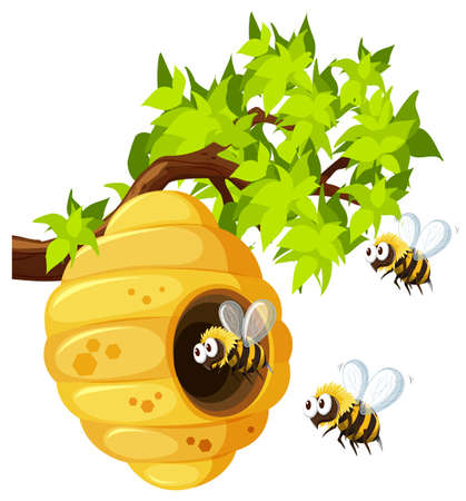 cute bee: Bees flying around beehive illustration