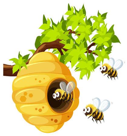 Bijen vliegen rond bijenkorf illustratie