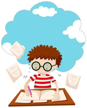 Boy doing homework on the desk illustration Ilustração Vetorial