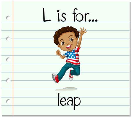 l boy: Flashcard letter L is for leap illustration Illustration