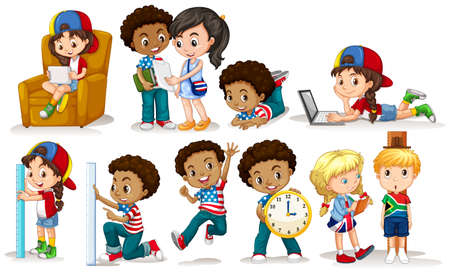 learning series: Boys and girls doing different activities illustration Illustration